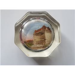 Antique Glass Paperweight Souvenier of the Fort Garry Hotel in Winnipeg Manitoba