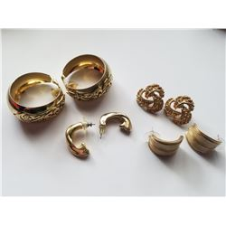 Lot of 4 Sets of Vintage Gold Tone Earrings