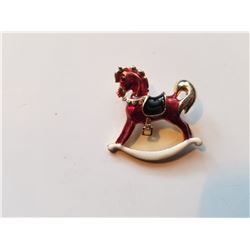 Vintage Red Toy Rocking Horse Brooch