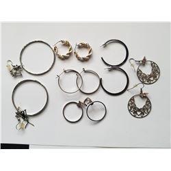 Lot of 6 Sets of Costume Jewelery Hoop Earrings