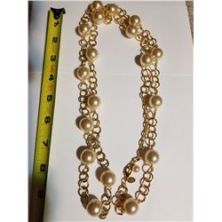 Joan Rivers Faux Pearls on Gold Tone Cahin Necklace