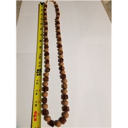 Joan Rivers Faus Brown Pearl and Wood Necklace