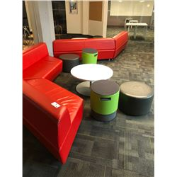 RECEPTION AREA SEATING INC. 4X RED LOUNGE BENCHES, TURNSTONE SEATING AND 2 ROUND COFFEE TABLES