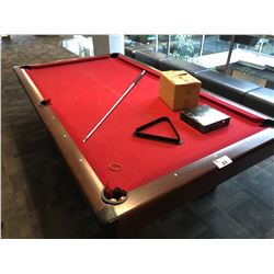 POOL TABLE WITH CUES, BALLS, RACK AND MORE