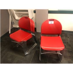 2 STACKS OF RED STACKING STUDENT CHAIRS