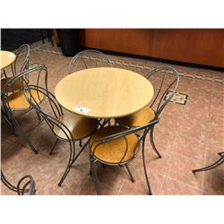 WOOD AND METAL FRAME CAFETERIA SET INC. ROUND TABLE AND 4 CHAIRS