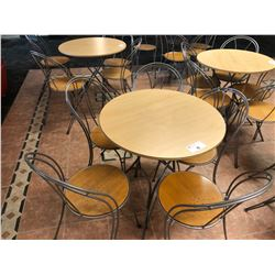 WOOD AND METAL FRAME CAFETERIA SET INC. ROUND TABLE AND 5 CHAIRS