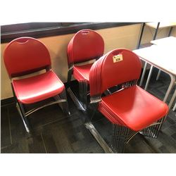 3 STACKS OF RED STACKING STUDENT CHAIRS