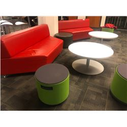 LOUNGE/RECEPTION FURNITURE INC. RED LEATHER BENCHES, TURNSTONE STOOLS, AND ROUND COFFEE TABLES