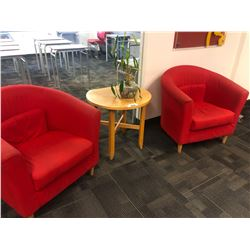 PAIR OF RED RECEPTION CHAIRS, SMALL WOOD ACCENT TABLE, AND PLANTS ON 2ND FLOOR