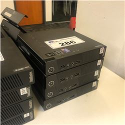 4 LENOVO THINKCENTRE M73 I3 DESKTOP MINI COMPUTERS WITH POWER SUPPLIES, HARD DRIVES REMOVED