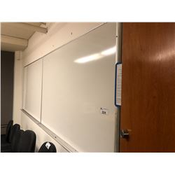 WHITE BOARDS AND ASSORTED OTHER ITEMS IN ROOM INC. 4 TABLES, MEDIA SHELF ETC.