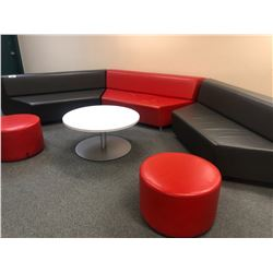RECEPTION/LOUNGE FURNITURE INC. 3 BENCHES, 2 STOOLS AND ROUND TABLE