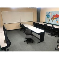 7 GREY AND BLACK COMPUTER DESKS