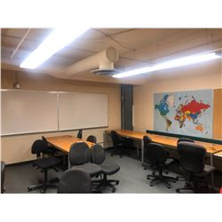 2 WHITE BOARDS AND LARGE WORLD MAP CORK BOARD