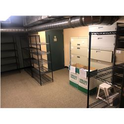 CONTENTS OF ROOM 107 INC. 4 BLACK RACKS, AND 5 MISC. FILE CABINETS