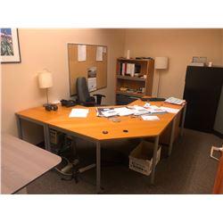 CONTENTS OF ROOM 115 INC. L-SHAPE DESK, ASH BROWN DESK, AND MORE, PHONES, KEYS, FILES, FILE
