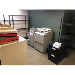 REMAINING CONTENTS OF ROOM 104 INC. FILE CABINETS, RACKS AND MORE