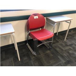 ALL RED STACKING STUDENT IN CLASSROOM