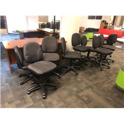 LOT OF 9 GREY STENO CHAIRS