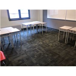 ALL GREY METAL FRAME STUDENT DESKS IN CLASSROOM