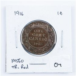 1916 Canada Large Cent MS60. TR Red