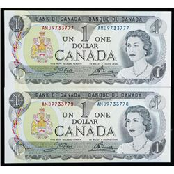 Bank of Canada Lot (2) 1973 1.00 In Sequence  Choice UNC