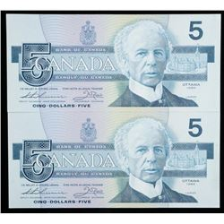 Bank of Canada 1986 5.00 In Sequence Choice  UNC (FOK) BC56b