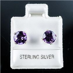 .925 Sterling Silver 1.5ct. Amethyst  Earrings. Made in Canada.