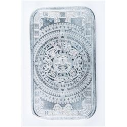 Aztec Calendar .999 Fine Silver Bar. 1oz.  Very Collectible.
