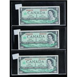 Lot (3) 1867-1967 1.00 with Serial Choice UNC