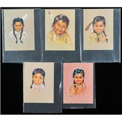 "Group of (5) Hand Painted 'Child Portraits'  4x6"" C1968"