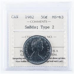 1982 Canada 50 Cent MS-63 Smbds Type 2 ICCS