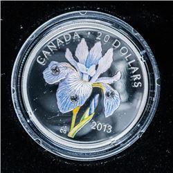 RCM 'Iris Versicolour' .9999 Fine Silver  $20.00 Coin LE/C.O.A.