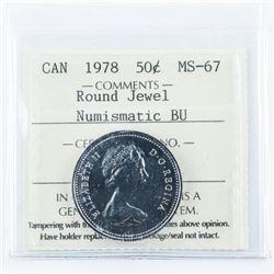 1978 Canada 50 Cent Round Jewel Numismatic  MS67 BU ICCS