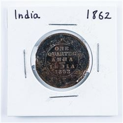 India 1862 Quarter Anna Coin