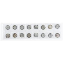 Group (16) Canada Silver 10 Cents - Early  Years