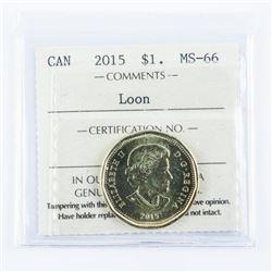 2015 Canada Loon Dollar MS66. ICCS