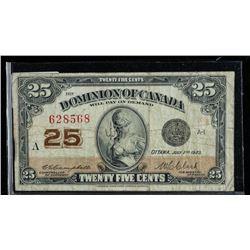 Dominion of Canada 1923 25 Cent. 2  Signatures. (VF)