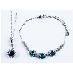 925 Silver Jewellery Set, Oval and Round  Genuine Blue Sapphire Necklace and Bracelet  Set