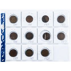 Group (11) Canada Large Cents: 1910-1920 over  100 Years