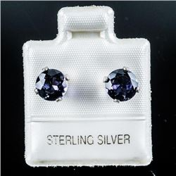 925 Silver Round Stud Earrings, Genuine  Lolite. Made in Canada.