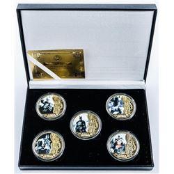 BATMAN 5pc Medallion Set 24kt Gold Plated  with Colour LE/C.O.A.