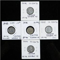 Group (5) Canada Silver 10 cents - George VI  1943-1949 Era