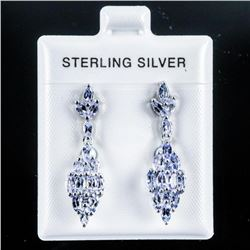 925 Sterling Silver Earrings 2 Tier with 32  Marquise Cut Natural Tanzanites - 1.00 tw.  Appraised: