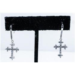 925 Sterling Silver Cross Earrings with  Swarovski Elements
