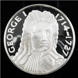"King of England - George I 1714-1727, 2""  Round Proof Struck Medallion, Slight Patina  of Edging 925"