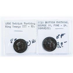 Group of (2) British Farthing 1806 George  III, 1830 George VI (EF)