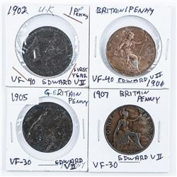 Group of (4) Great Britain Edward VII - 1  Penny Coin (vf) 1902,1905, 1906, 1907