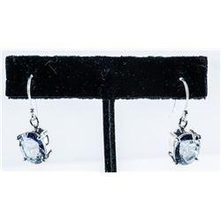 925 Sterling Oval Tanzanite Swarovski  Elements/Earrings, Shepherd Hook Back